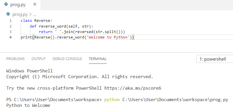 Python program to reverse a string word by word using class