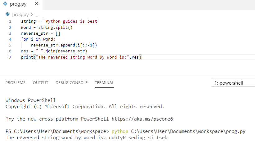 Python program to reverse a string word by word