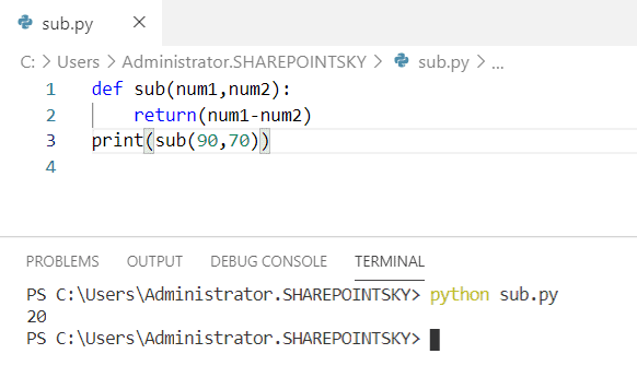 Python program to subtract two numbers using a function