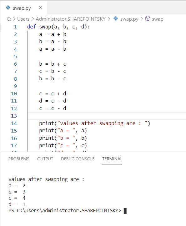 Python program to swap four variables without temporary variable