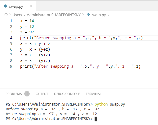 Python program to swap three numbers without a temporary variable