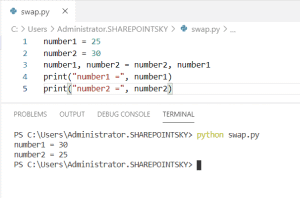 swap two numbers in Python