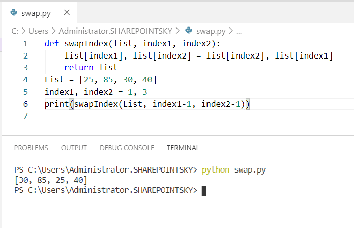 Python program to swap two numbers in a list