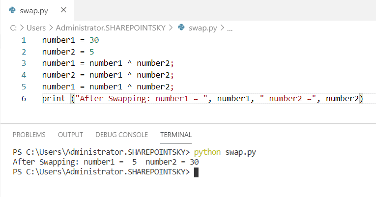Python program to swap two numbers using bitwise XOR