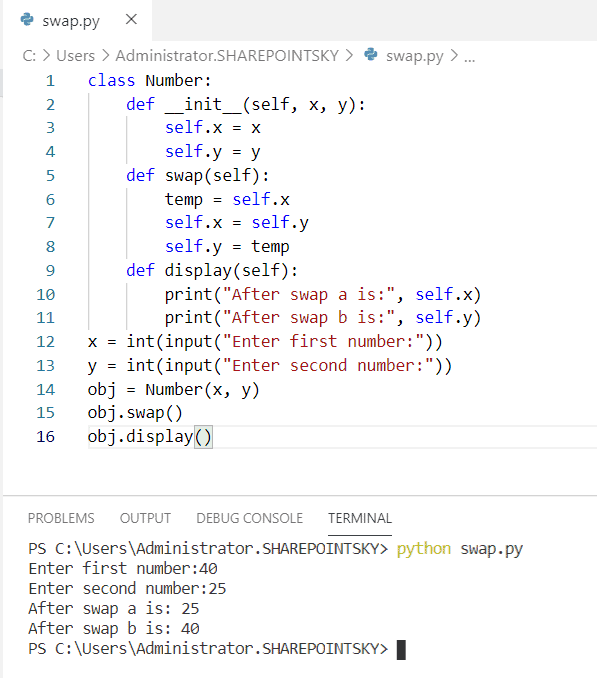 Python program to swap two numbers using class
