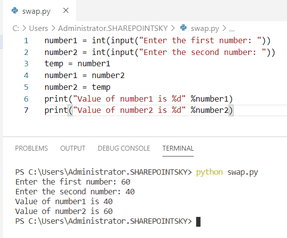 Python program to swap two numbers with using the third variable