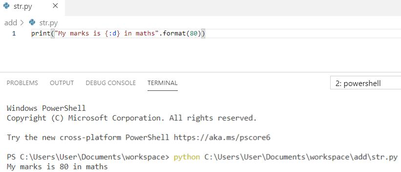 Python string formatting integer