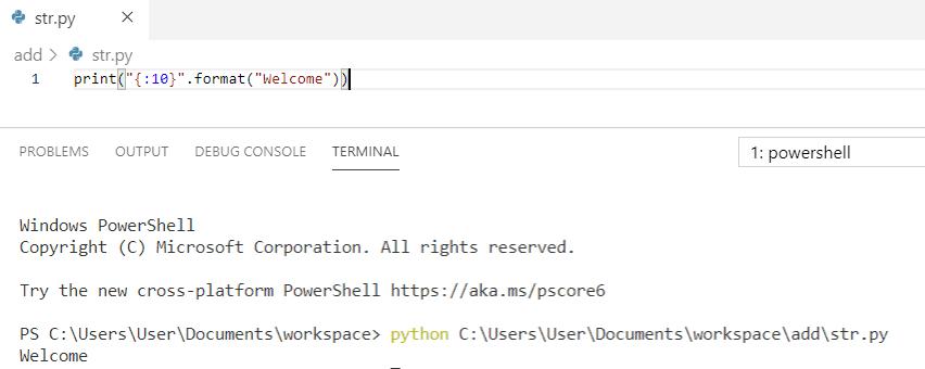Python string formatting padding