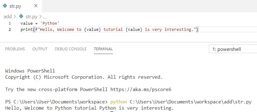 Python string formatting using f