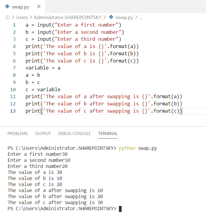 Swapping of three numbers in Python