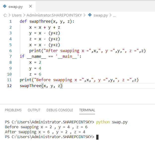 Swapping of three numbers using function in python