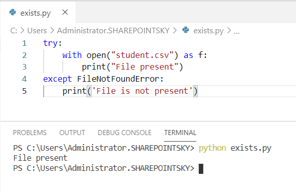 file does not exist python read CSV