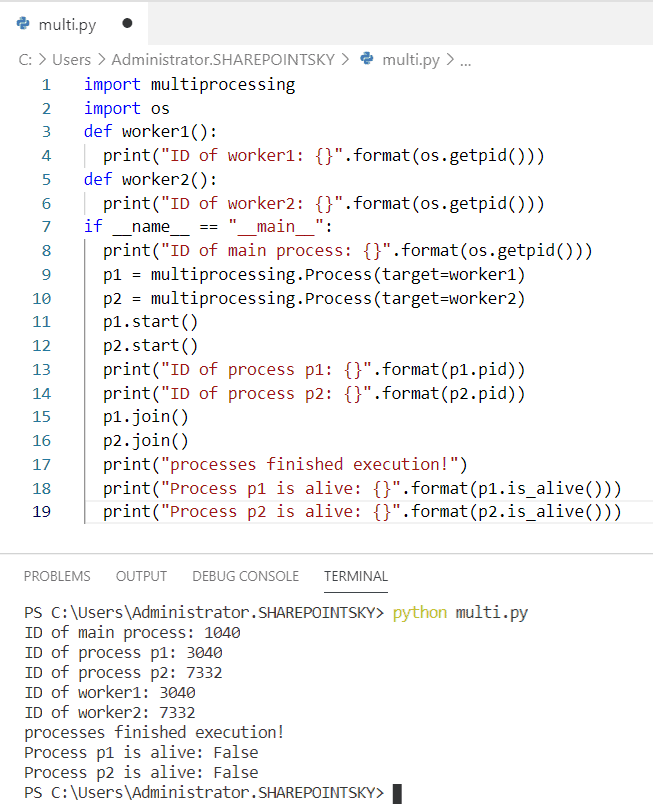 The different process running of the same python script