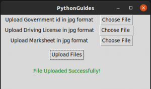 python tkinter upload file successful