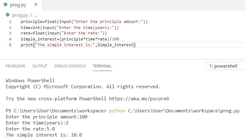 Python Program to compute simple interest