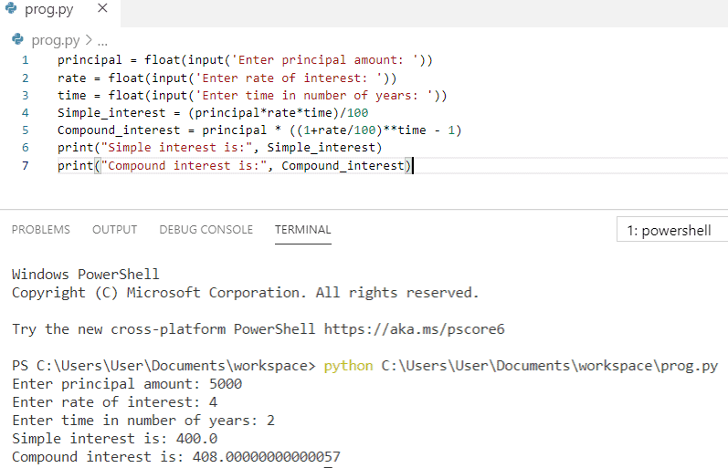 Python program for simple interest and compound interest