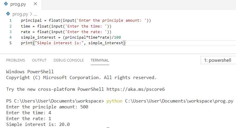 Python program to calculate simple interest from user input