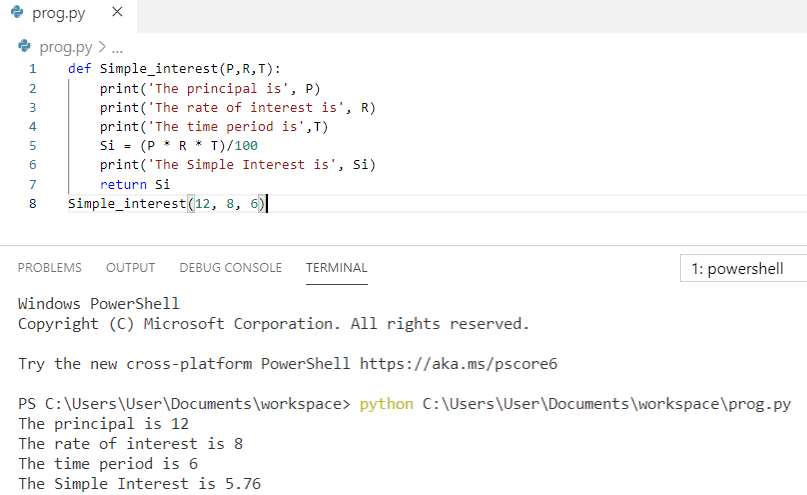 Python program to calculate simple interest using function