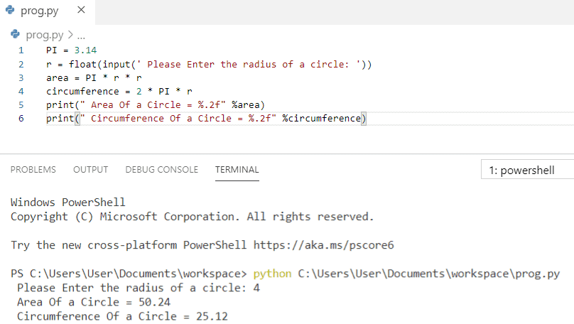 Python program to calculate the area and circumference of a circle
