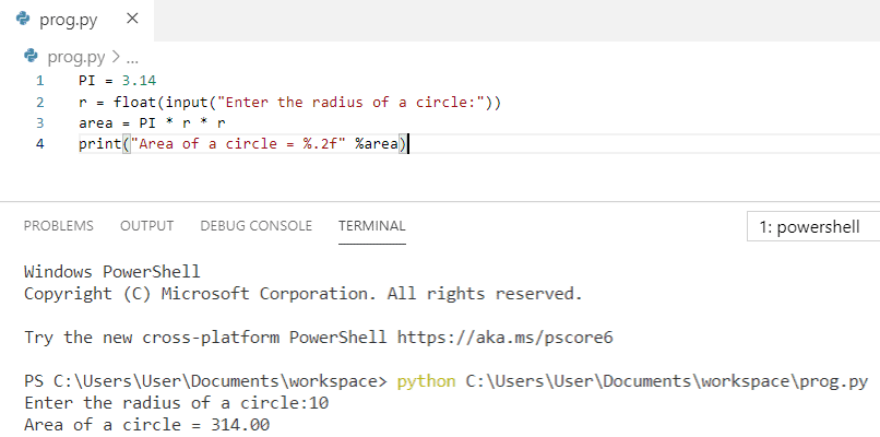 Python program to calculate the area of a circle