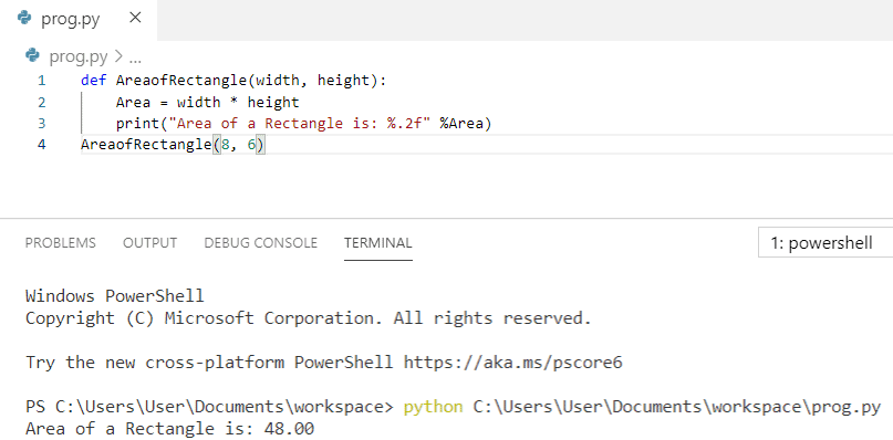 Python program to calculate the area of a rectangle using function