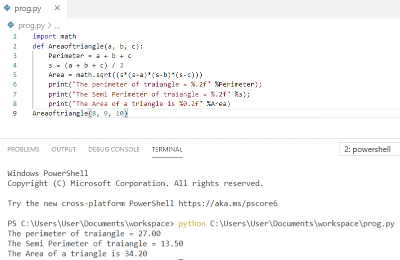 Python program to calculate the area of a triangle using function