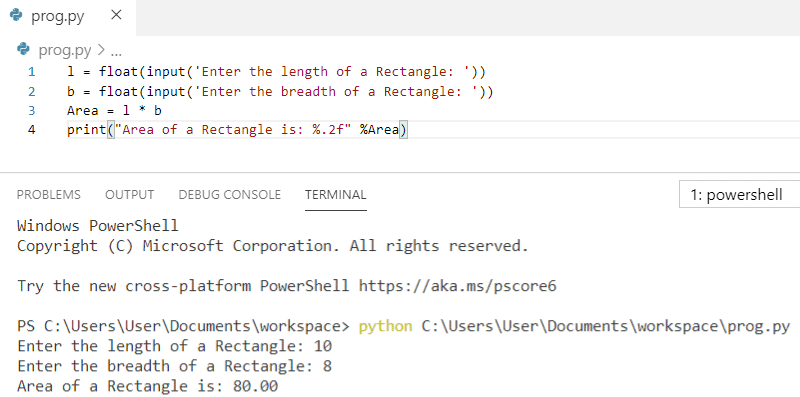 Python program to find an area of a rectangle