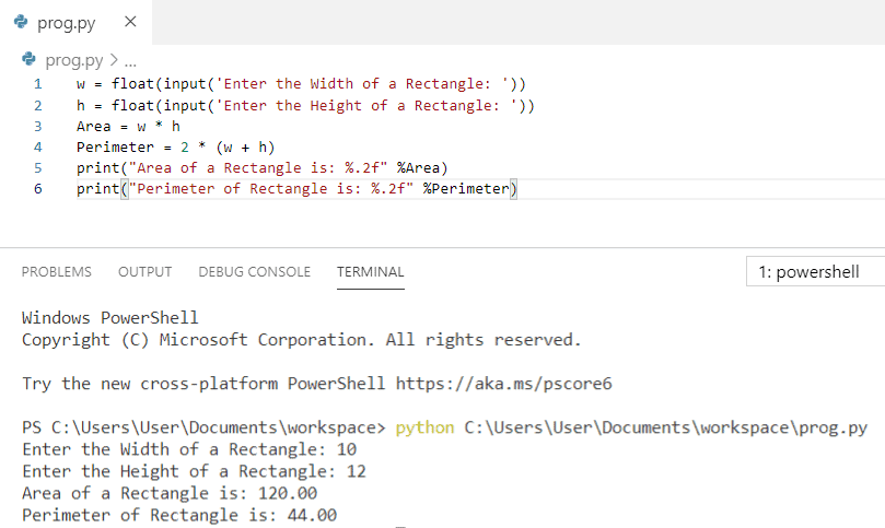 Python program to find area and perimeter of a rectangle
