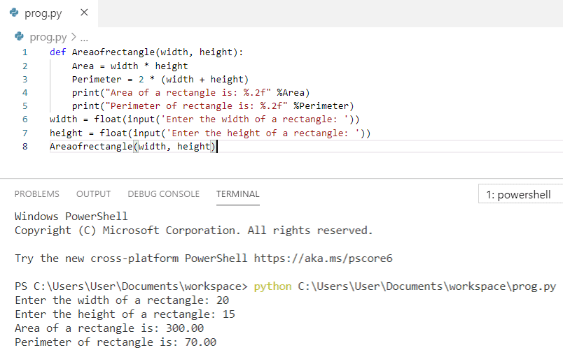 Python program to find the area and perimeter of a rectangle using function