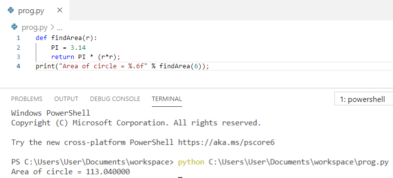 Python program to find the area of a circle using function