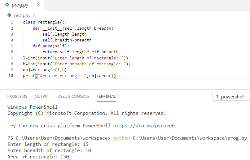 Python program to find the area of a rectangle using classes