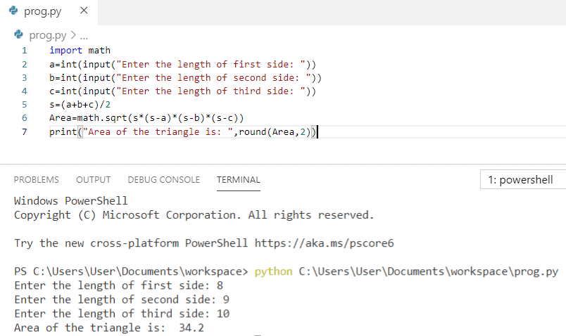 Python program to find the area of a triangle given all three sides