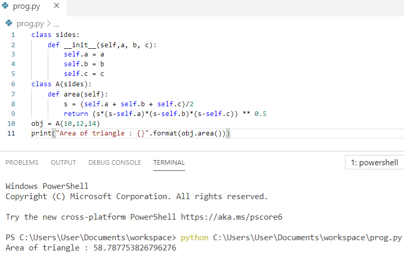 Python program to find the area of a triangle using class