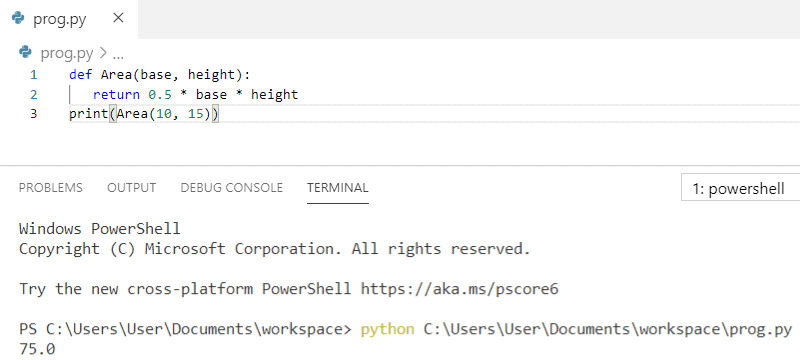 Python program to find the area of a triangle using function when base and height are given