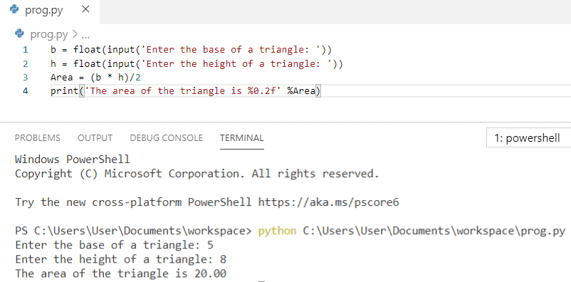 Python program to find the area of a triangle when base and height are given
