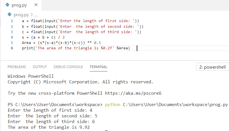 Python program to find the area of a triangle