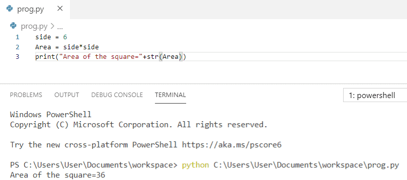 Python program to find the area of square