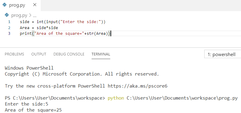 Python program to find the area of the square by getting input from a user