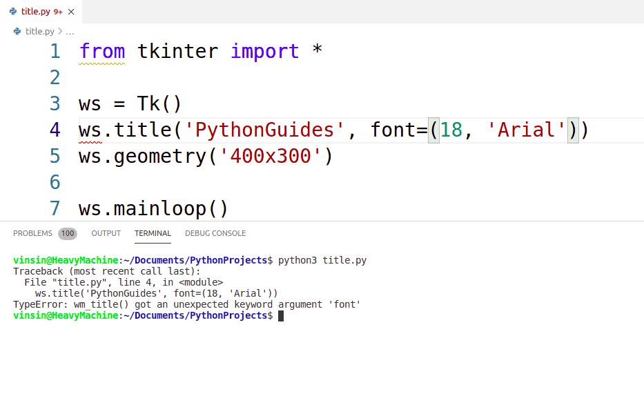 Python tkinter title font size