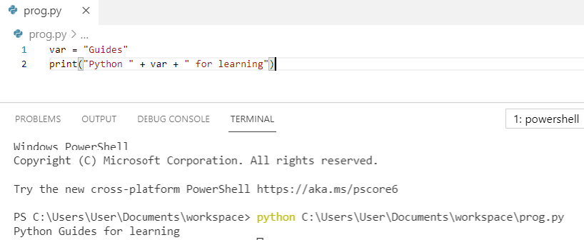Add variable to a string python