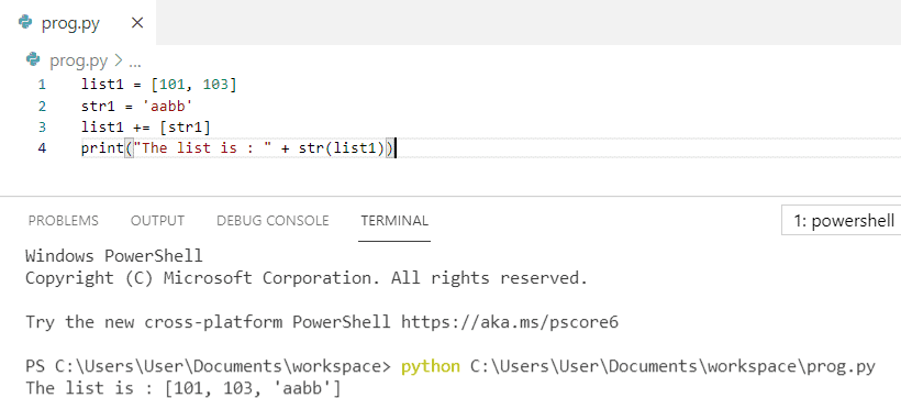 Append string to list python