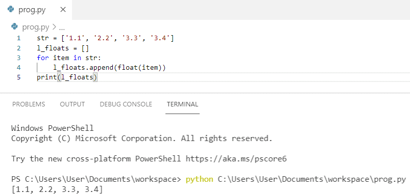 Convert list of string to float python