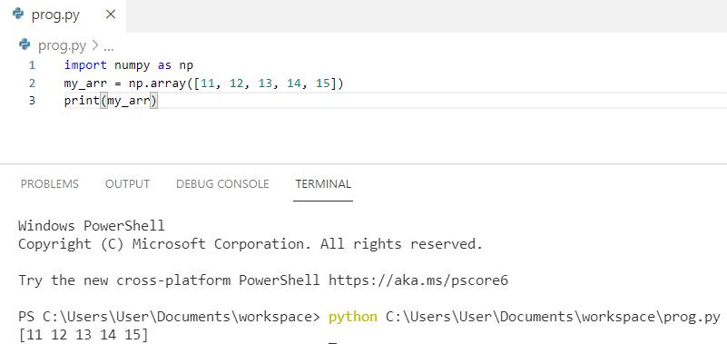 Example on NumPy arrays