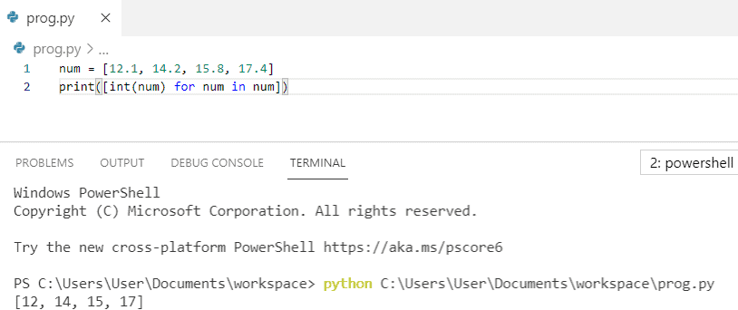 How to convert float list to int in python