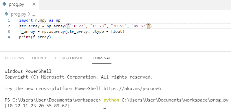 How to convert string array to float array in python