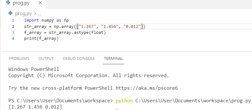 How to convert string to float in python using numpy