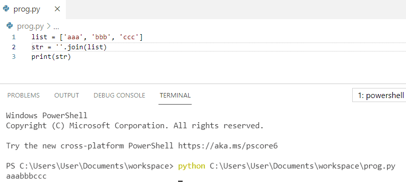 Join string to list python