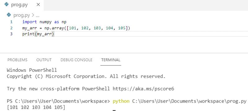 Python NumPy array example