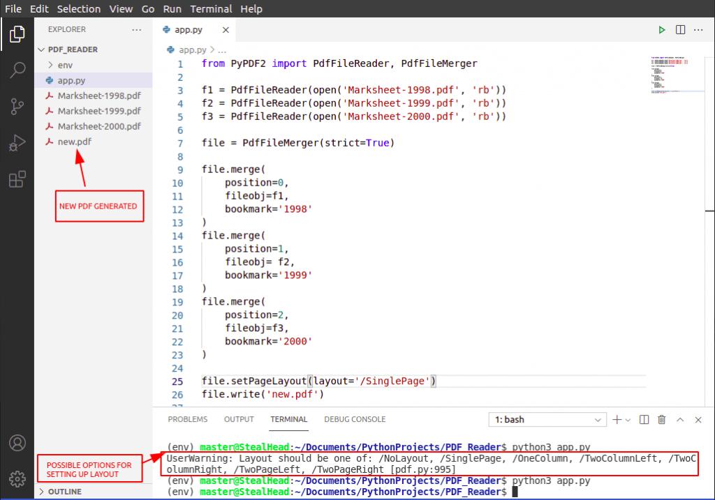 Python PyPDF2 pageLayout