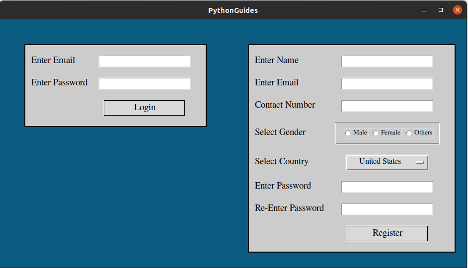 registration form in python using tkinter with database